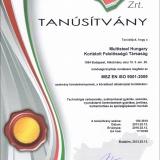 EMT Tanúsítvány (MSZ EN ISO 9001:2009)
